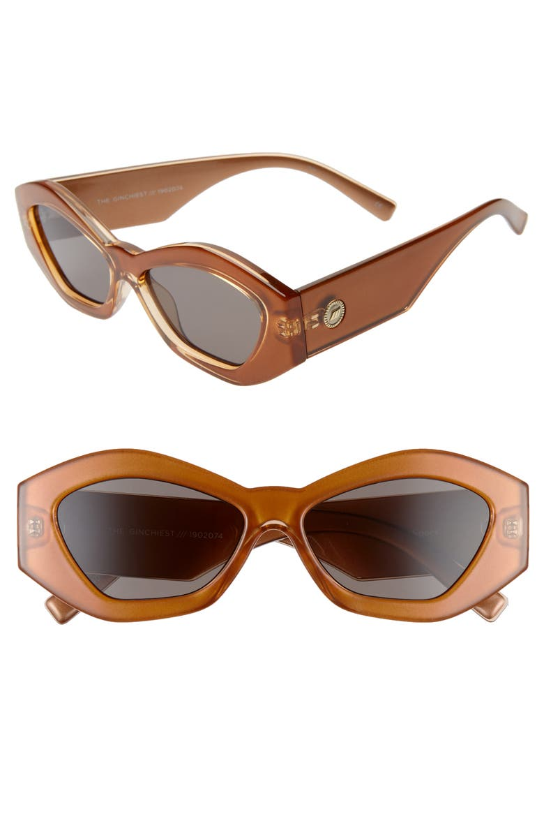 LE SPECS The Ginchiest 52mm Cat Eye Sunglasses, Main, color, CARAMEL/ SMOKE