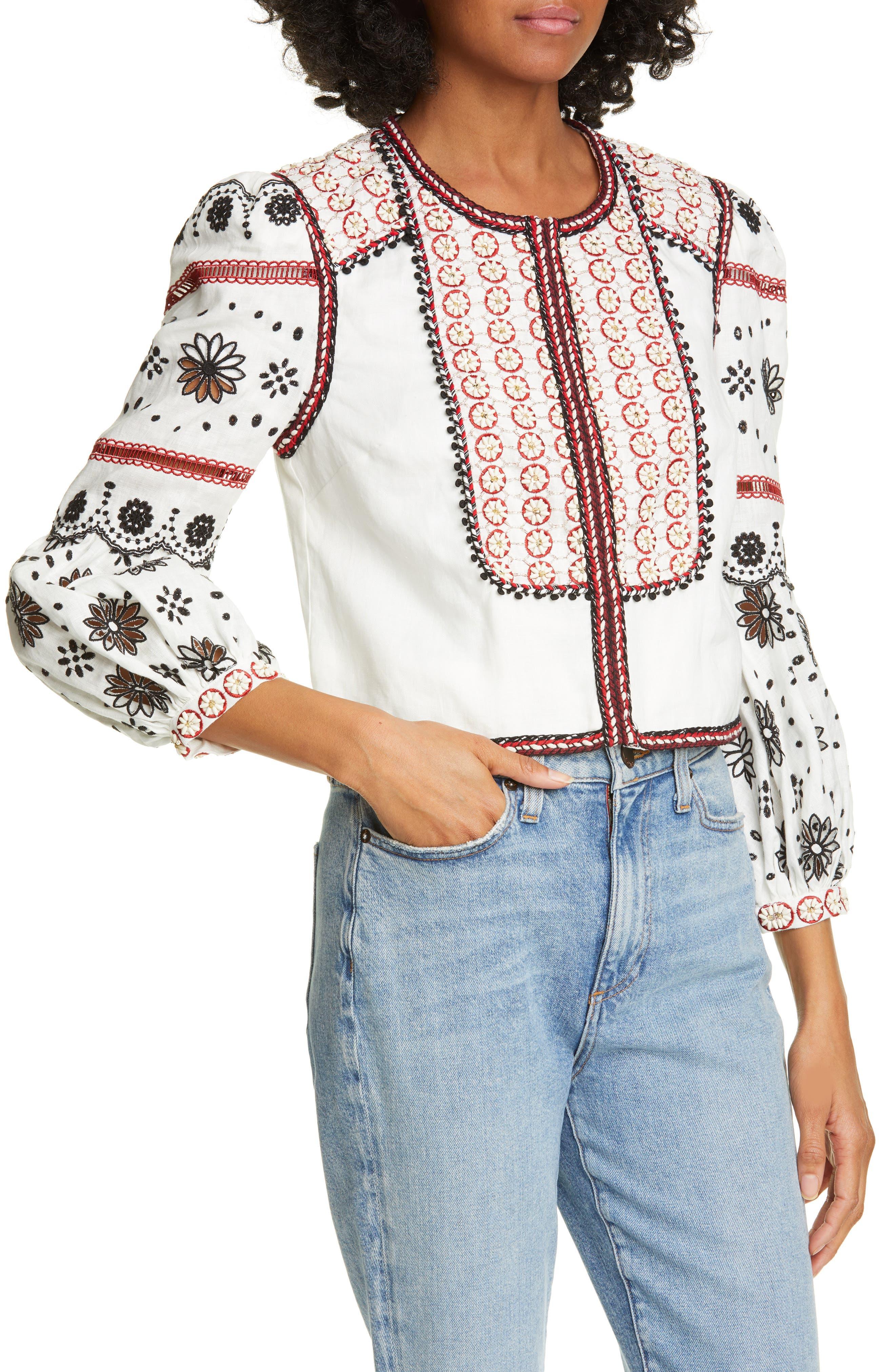 ,                             Shilin Embellished Linen Jacket,                             Alternate thumbnail 5, color,                             OFF-WHITE