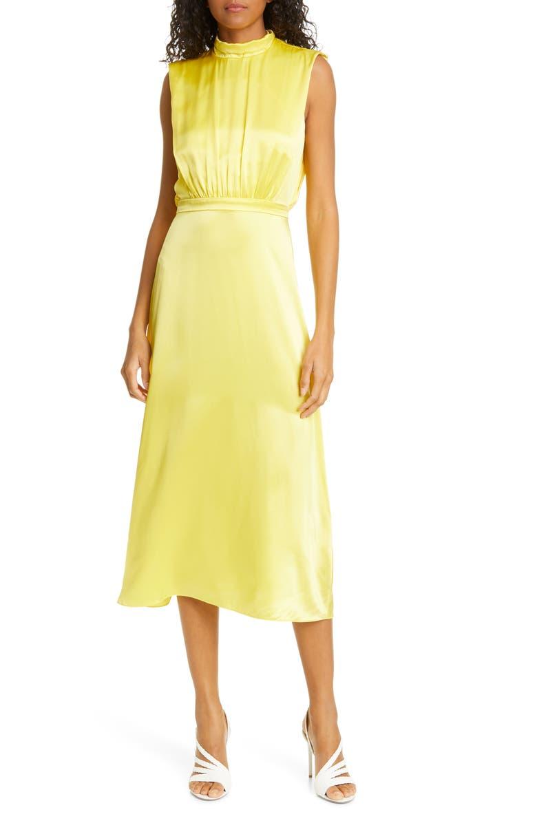 SALONI Fleur Split Back Silk Satin Dress, Main, color, BRIGHT LEMON - 238