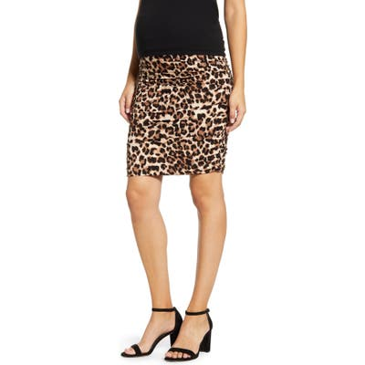 Angel Maternity Ruched Leopard Print Maternity Skirt, Brown