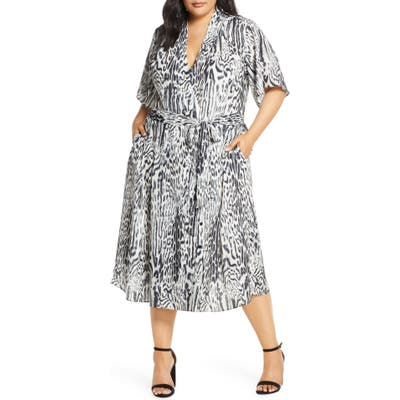 Plus Size Rachel Roy Collection Animal Print Wrap Dress, Grey