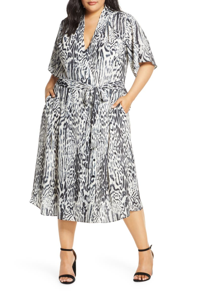 RACHEL ROY COLLECTION Animal Print Wrap Dress, Main, color, GREY COMBO