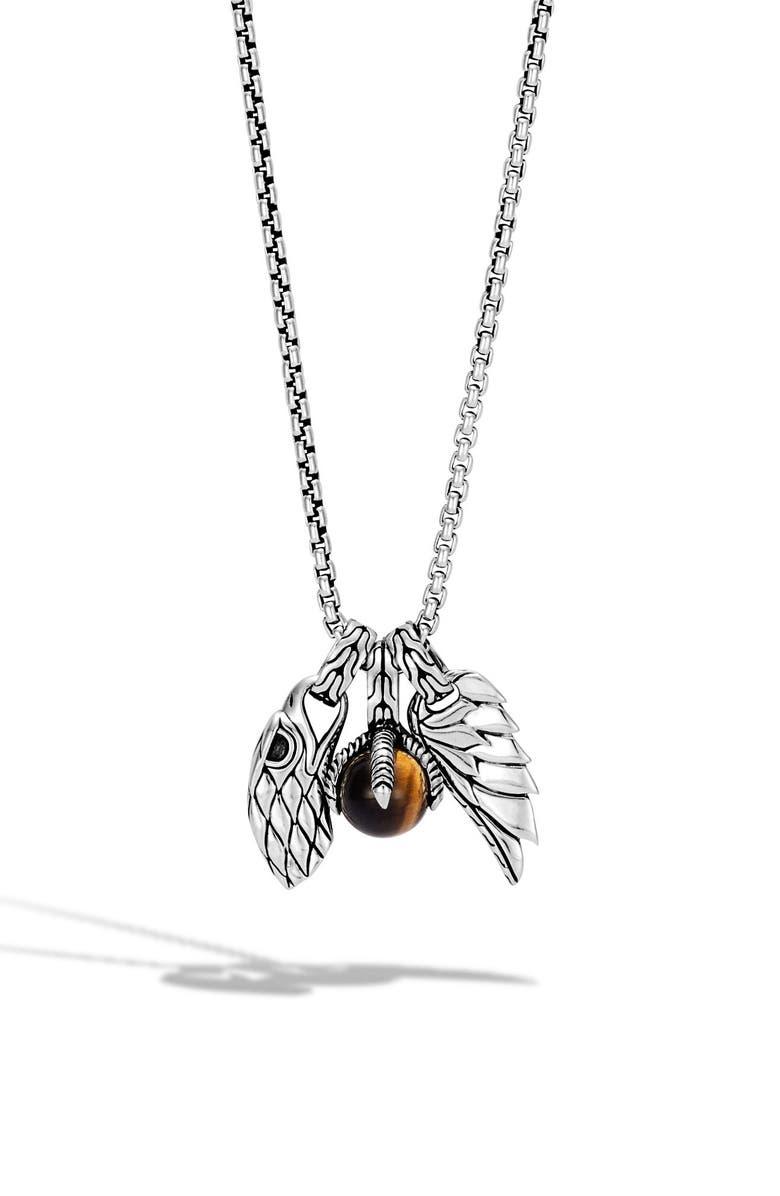 JOHN HARDY Men's Legends Eagle Amulet Pendant Necklace, Main, color, SILVER/ TIGER EYE