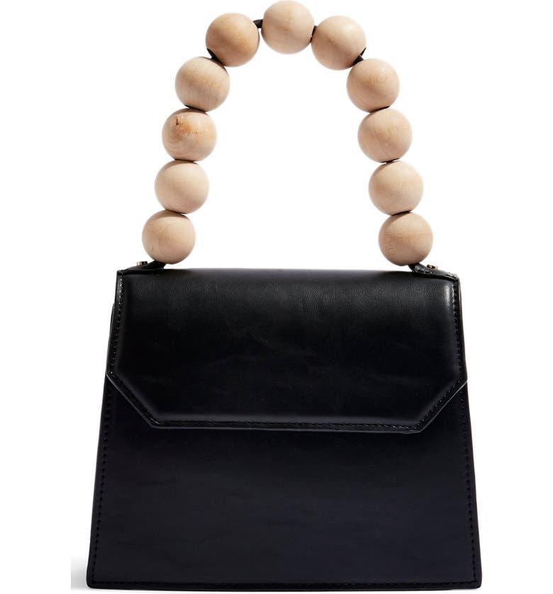TOPSHOP Miesha Statement Handle Faux Leather Satchel, Main, color, 001