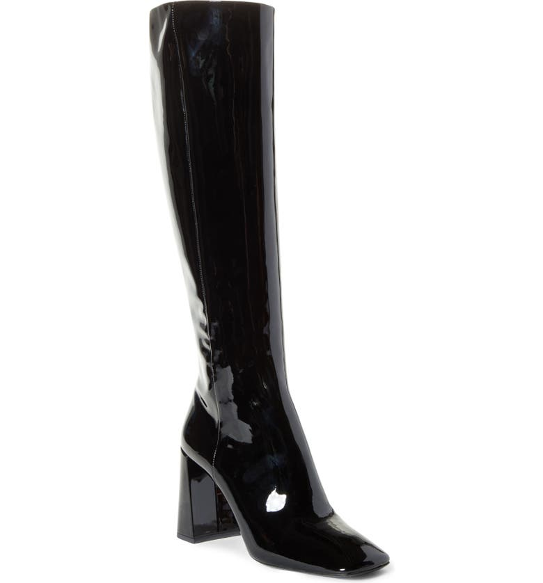 PRADA Square Toe Knee High Boot, Main, color, 001