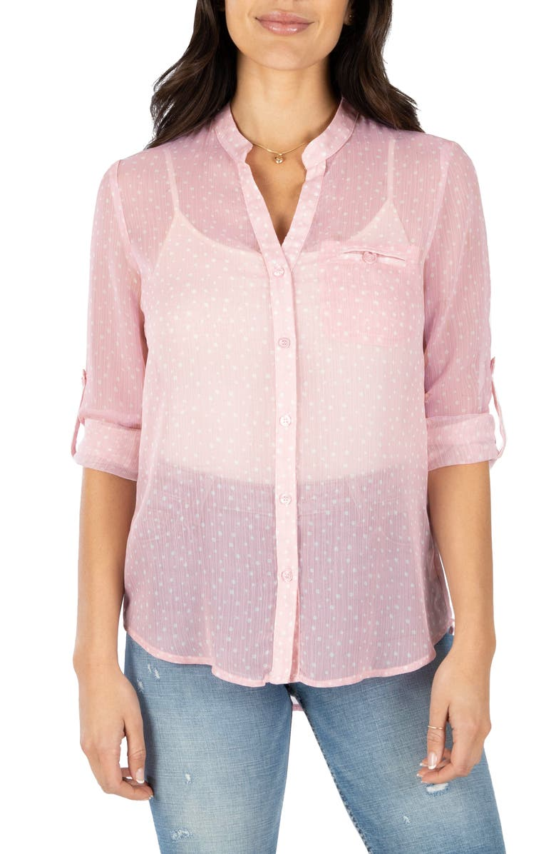 KUT FROM THE KLOTH Jasmine Top, Main, color, PIACENZA DOT LIGHT PINK