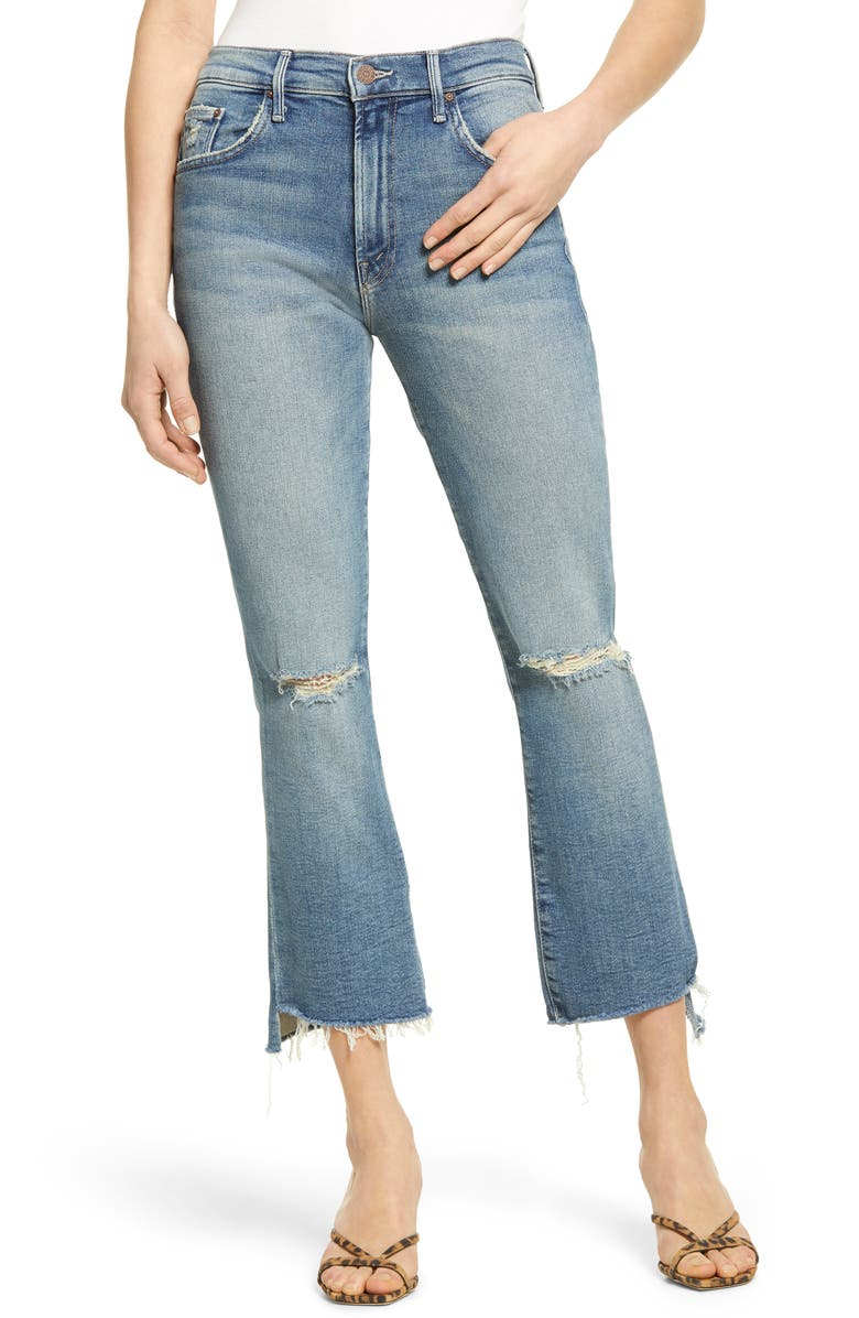 MOTHER The Insider High Waist Crop Step Fray Jeans, Main, color, 420