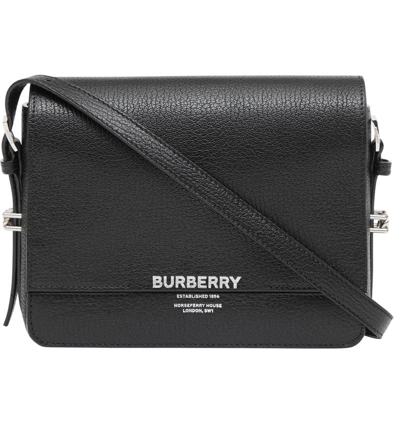 BURBERRY Small Grace Leather Bag, Main, color, BLACK
