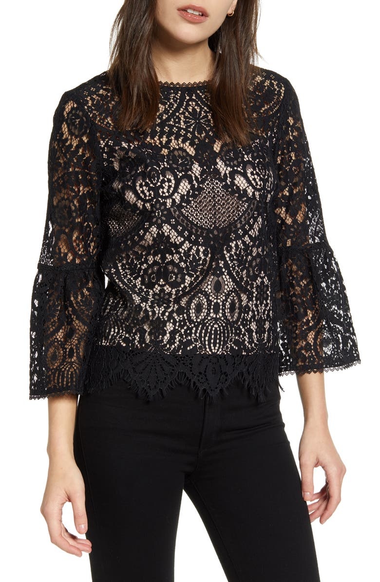 CUPCAKES AND CASHMERE Geneva Lace Top, Main, color, BLACK