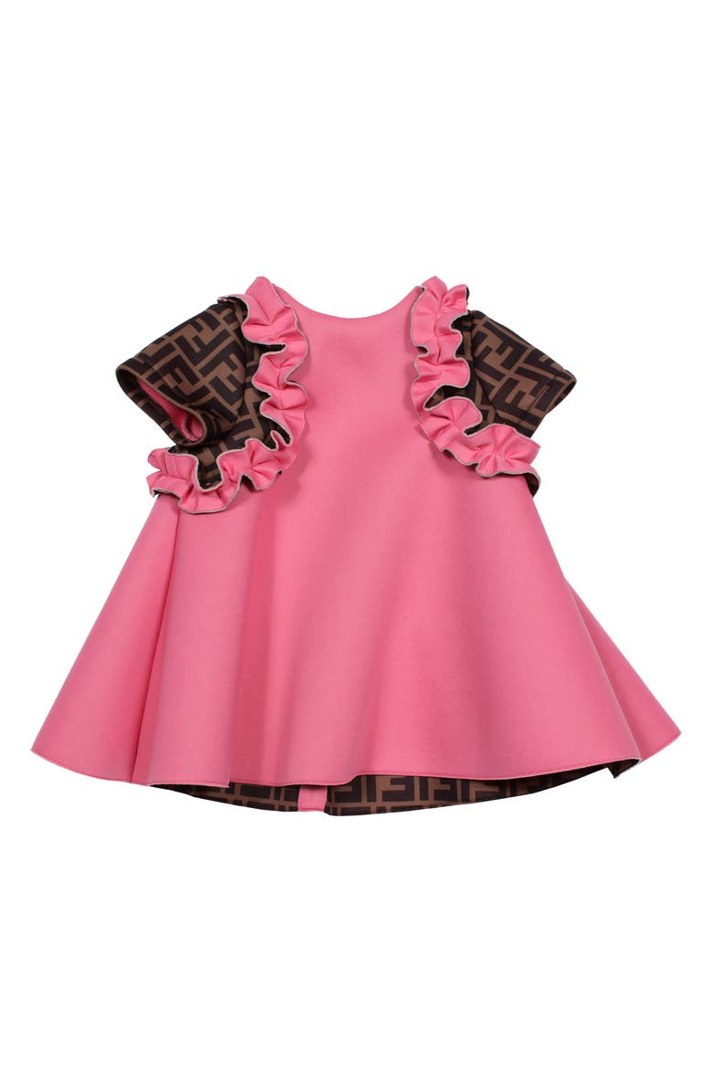 FENDI FF Logo Ruffle Scuba Swing Dress, Main, color, FUCHSIA