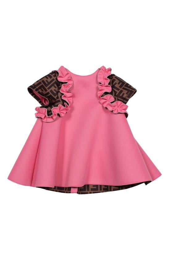 Fendi Dresses FF LOGO RUFFLE SCUBA SWING DRESS