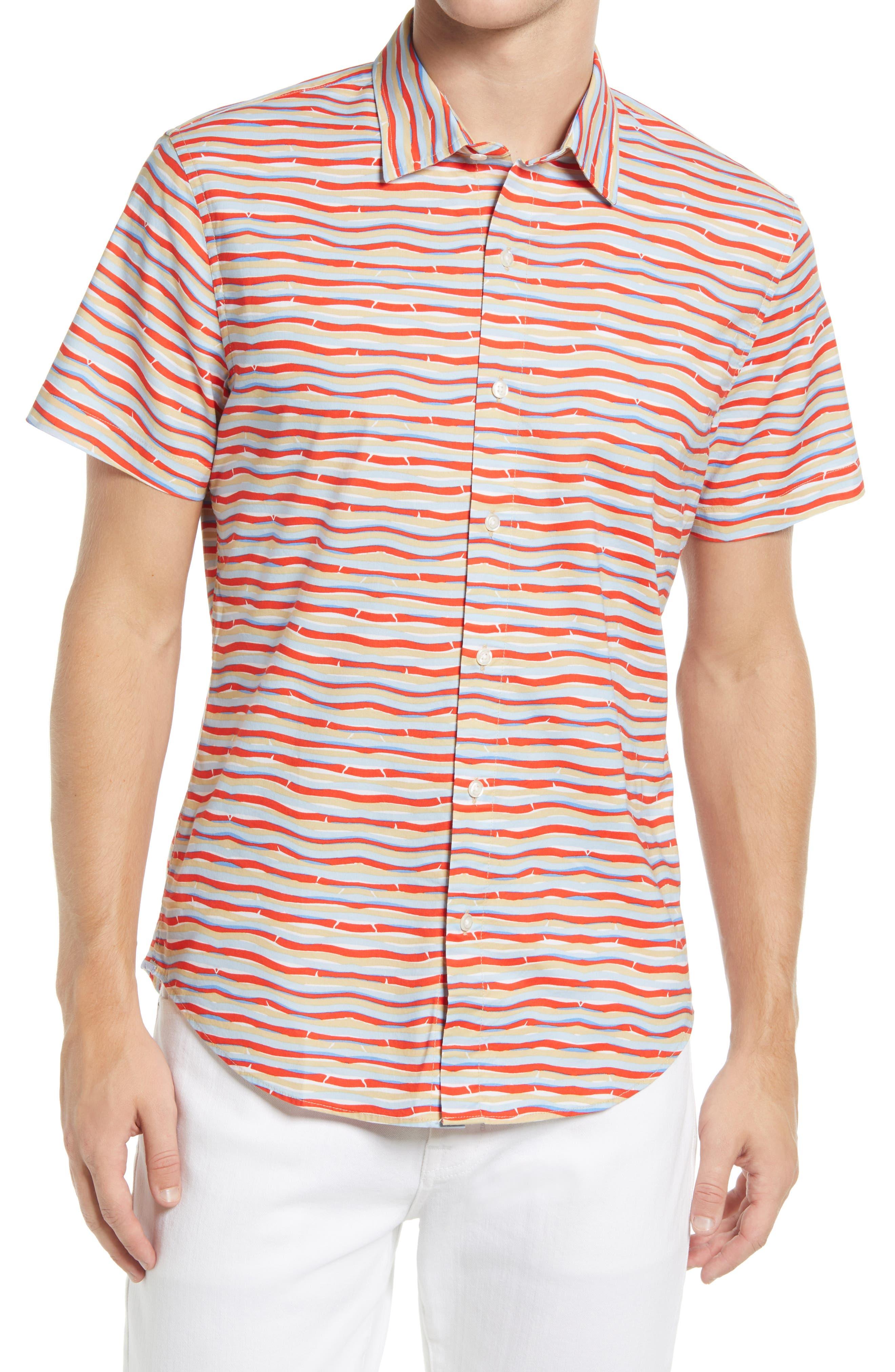Riviera Slim Fit Stripe Short Sleeve Button-Up Shirt