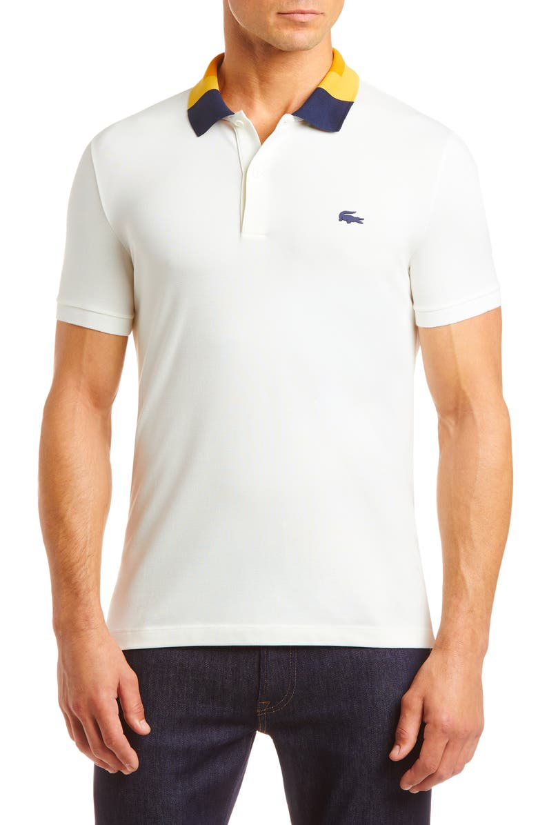 LACOSTE Slim Fit Colorblock Stretch Piqué Polo, Main, color, 104