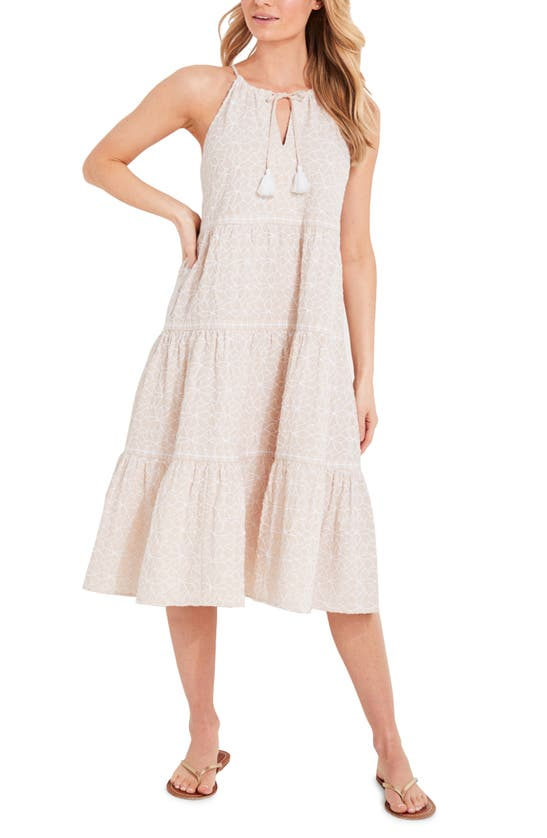 Vineyard Vines DAY LILY FLORAL TIERED TRAPEZE MIDI DRESS