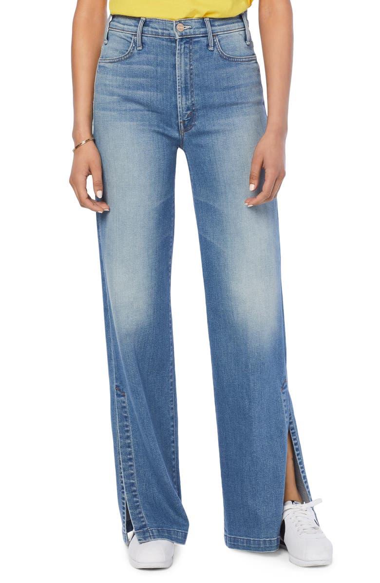 MOTHER The Hustler Sidewinder High Waist Slit Hem Bootcut Jeans, Main, color, 420