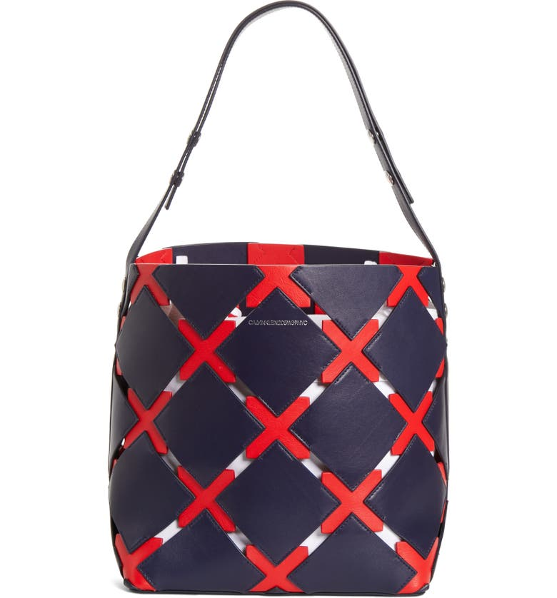 CALVIN KLEIN 205W39NYC Patchwork Quilt Leather Bucket Bag, Main, color, NAVY/ RED