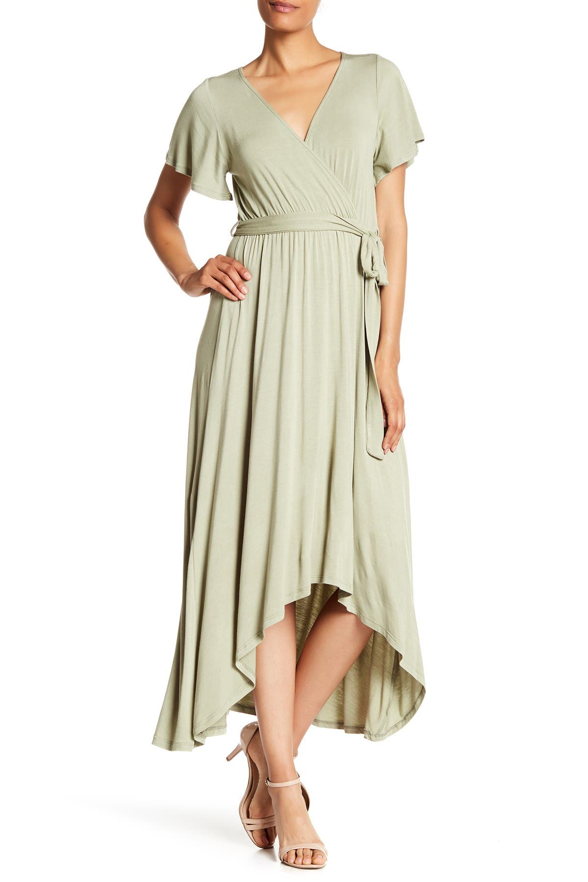 Image of WEST KEI Flutter Sleeve High/Low Wrap Dress