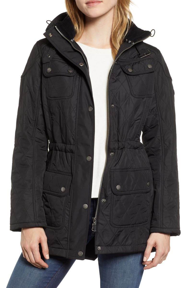 BARBOUR Arrow Quilted Hooded Anorak Coat, Main, color, BLACK