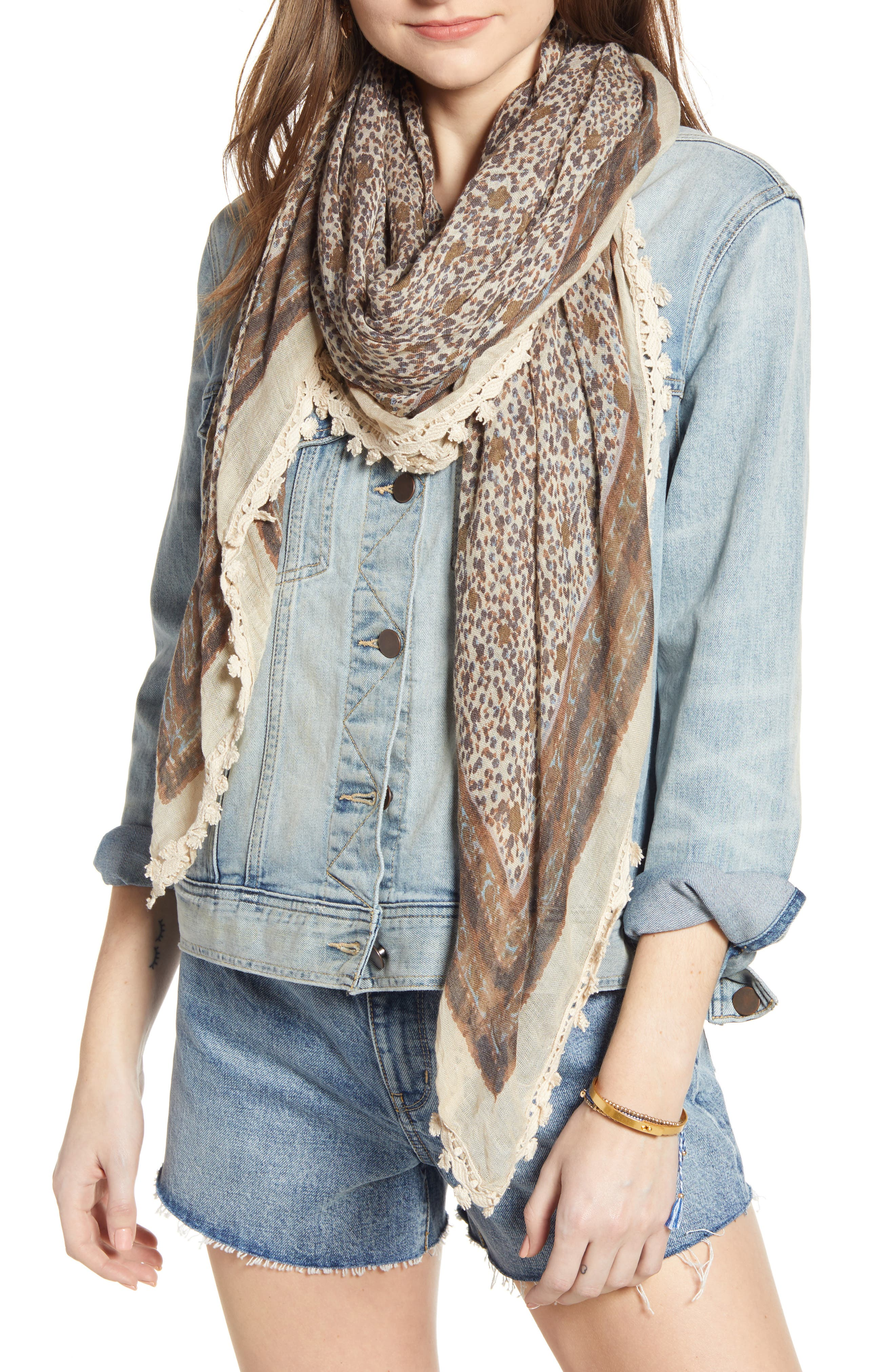 Print Gauze Scarf, Main, color, OLIVE DITSY MEADOW