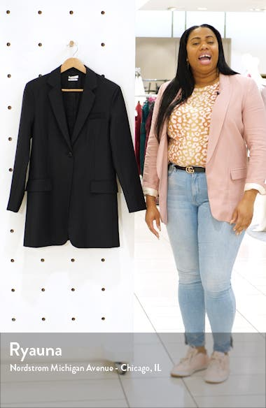 Pinstripe Oversize Wool Blend Blazer, sales video thumbnail