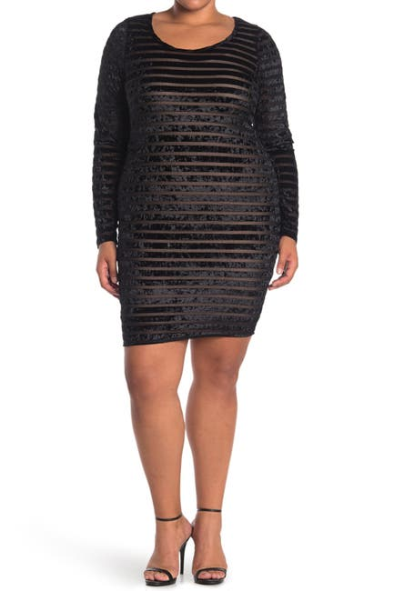 Image of Curvy Sense Velvet Stripe Burnout Dress