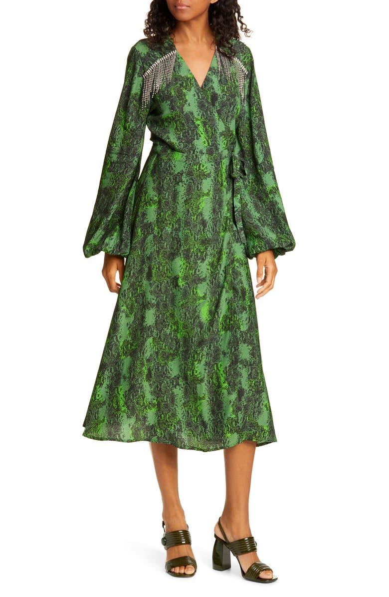 ROTATE Kira Snake Print Crystal Fringe Long Sleeve Midi Dress, Main, color, STONE GREEN COMBO