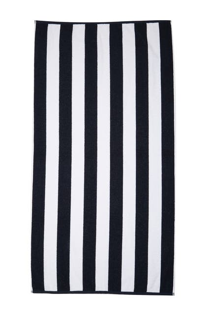 Image of Apollo Towels Rugby Striped Beach Towel - Navy/White