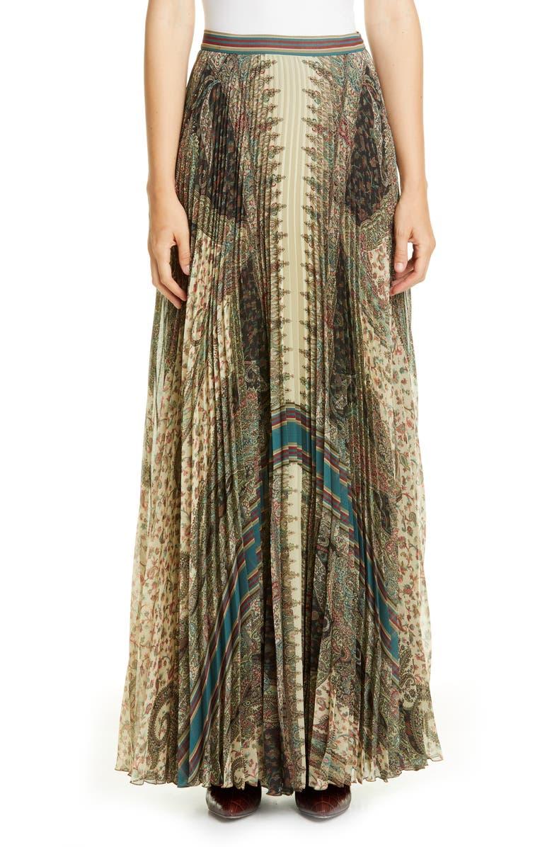 ETRO Brocade Print Pleated Maxi Skirt, Main, color, 250