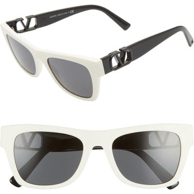 Valentino 52Mm Polarized Sunglasses - Ivory/ Grey Solid