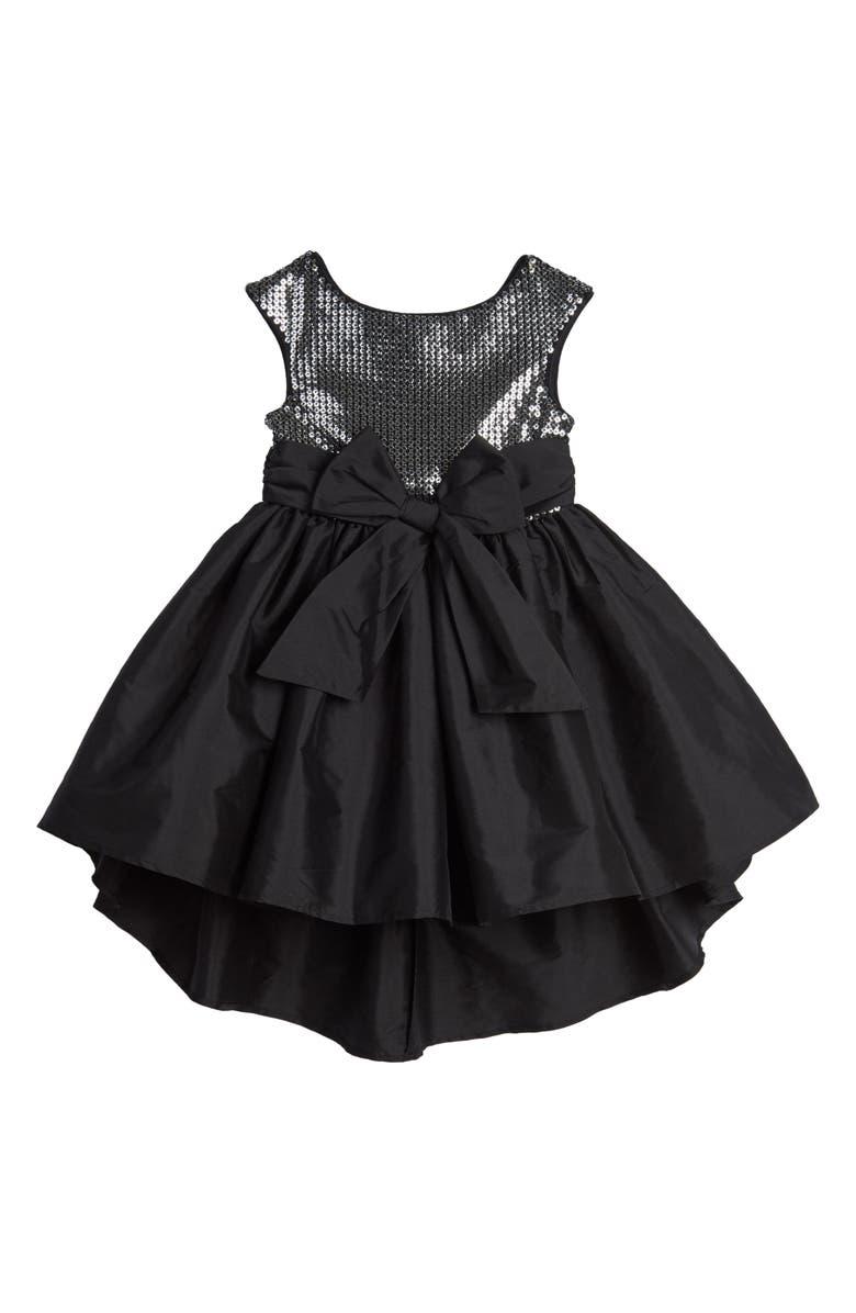 PIPPA & JULIE Alicia Silver Sequin Party Dress, Main, color, SILVER/ BLACK