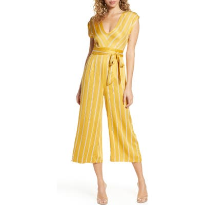 Bb Dakota All The Right Moves Printed Wide Leg Jumpsuit, Yellow