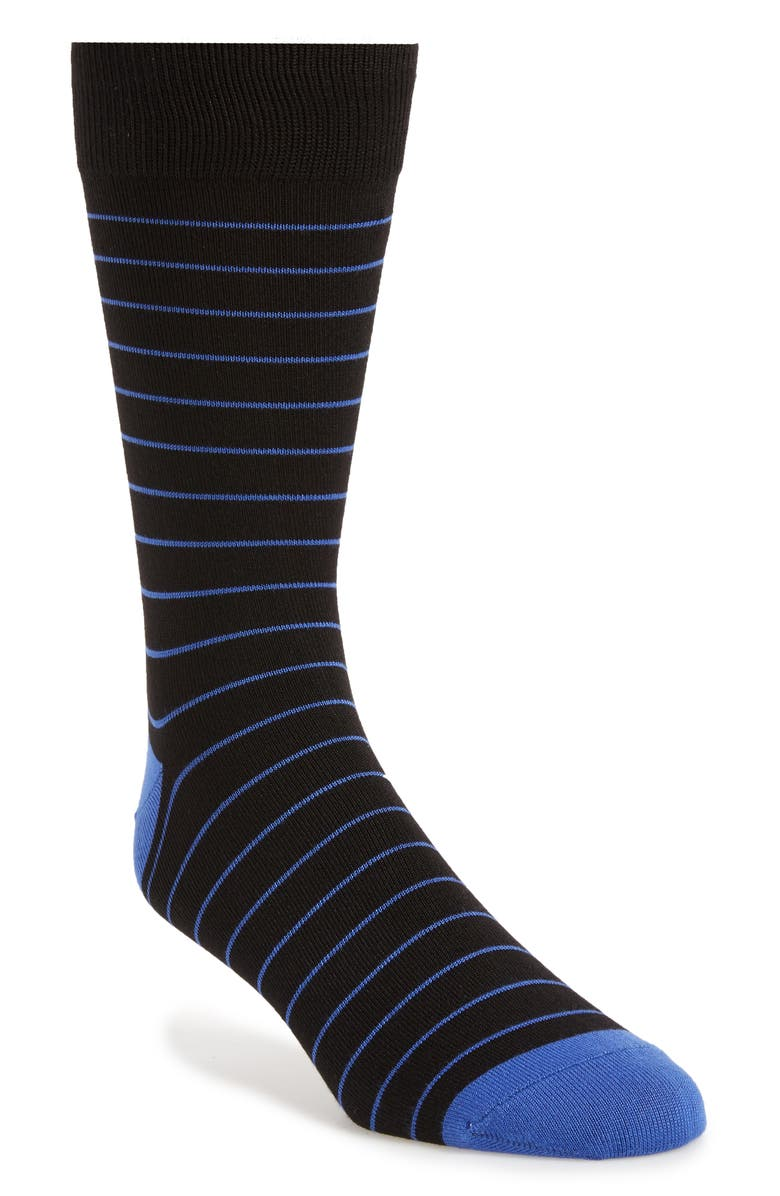 NORDSTROM MEN'S SHOP Ultra Soft Stripe Socks, Main, color, BLACK/ BLUE AMPARO