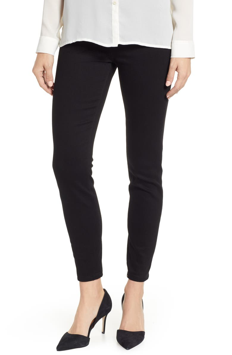 LIVERPOOL Chloe Pull-On Stretch Skinny Ankle Jeans, Main, color, BLACK RINSE