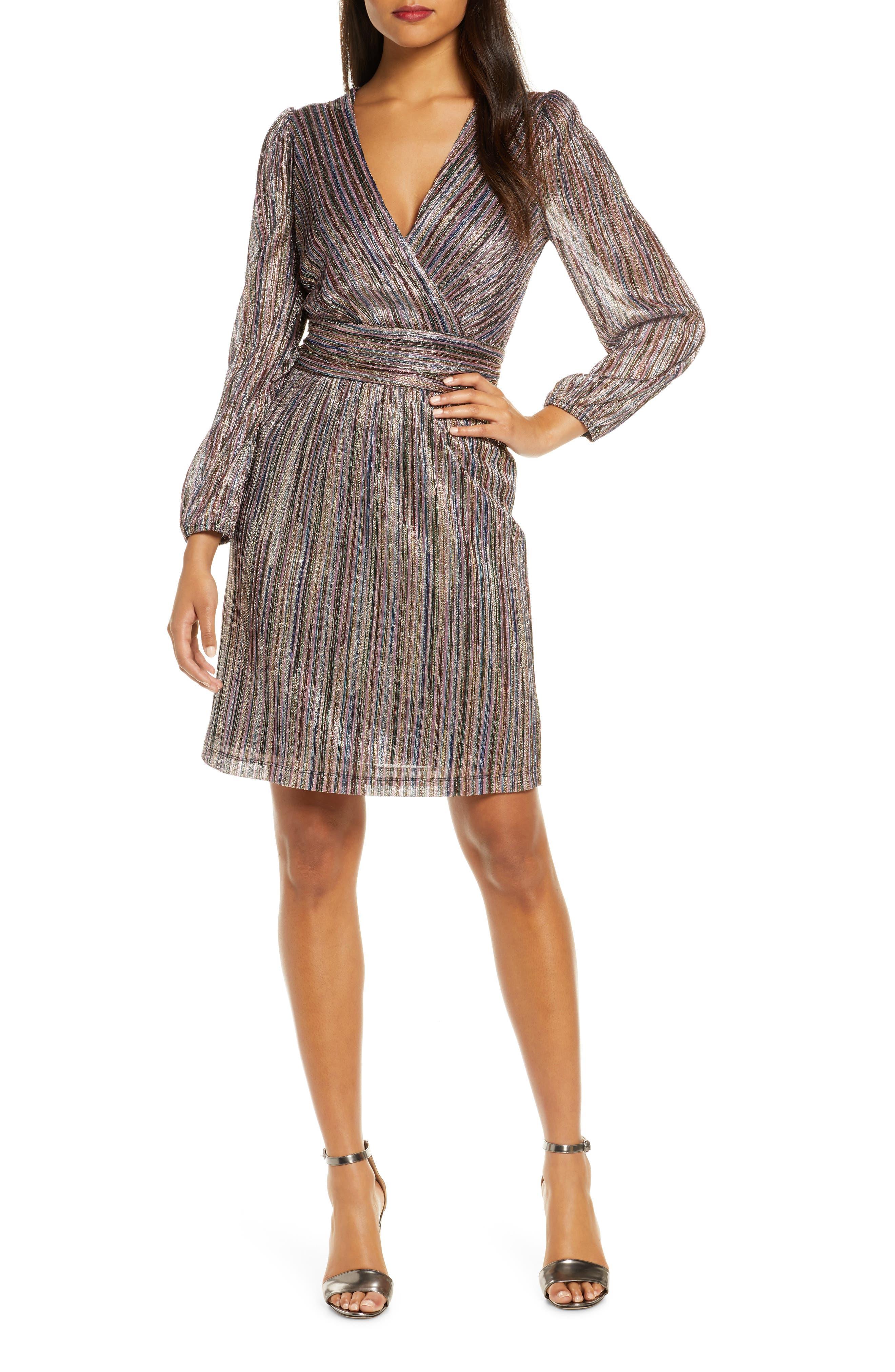 Julia Jordan Multicolor Metallic Stripe Long Sleeve Dress