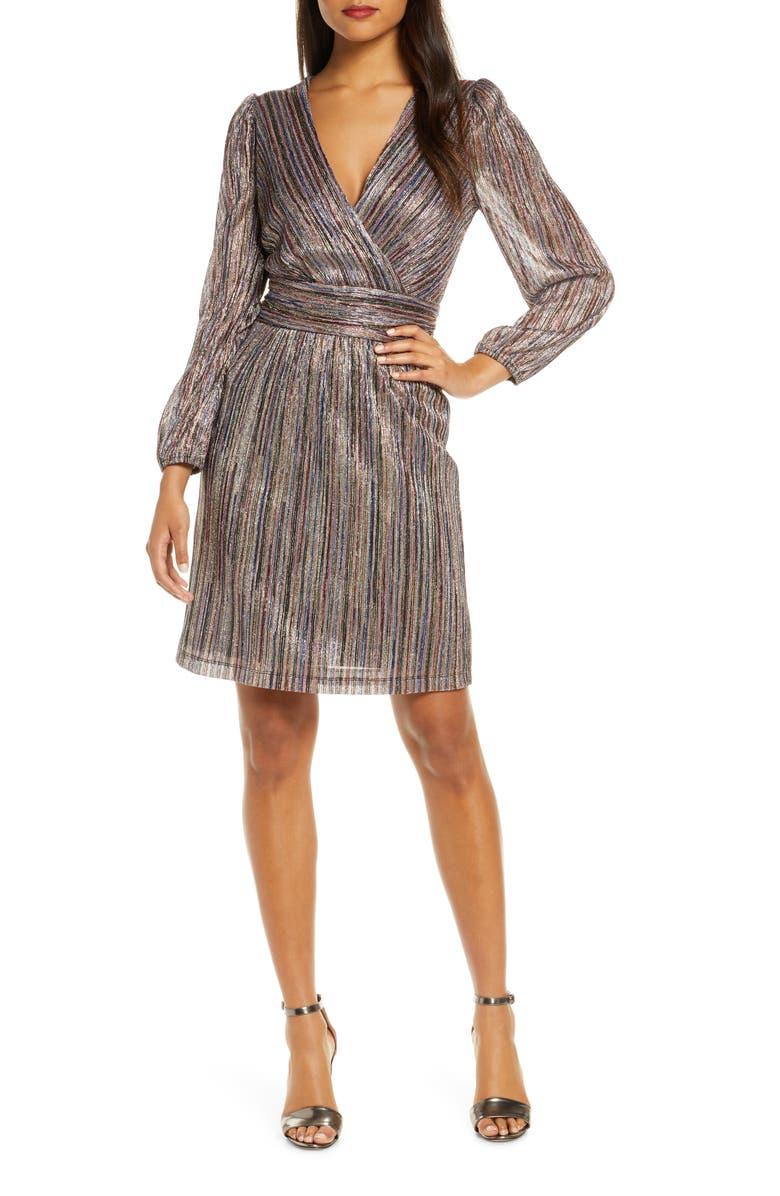 JULIA JORDAN Multicolor Metallic Stripe Long Sleeve Dress, Main, color, MULTI
