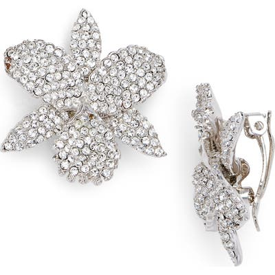 Nina Pave Orchid Clip Earrings