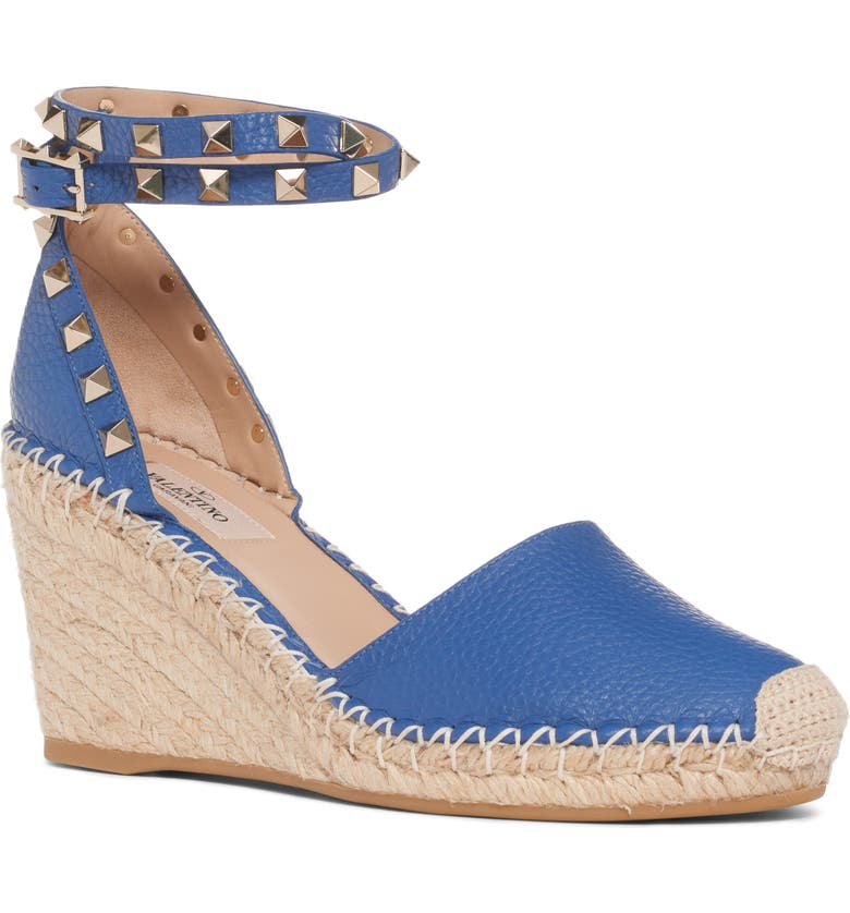 VALENTINO GARAVANI Rockstud Espadrille Wedge, Main, color, BALTIQUE BLUE LEATHER