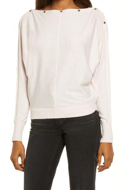 Allsaints Elle Studded Boatneck Sweater In Pashmina Pink