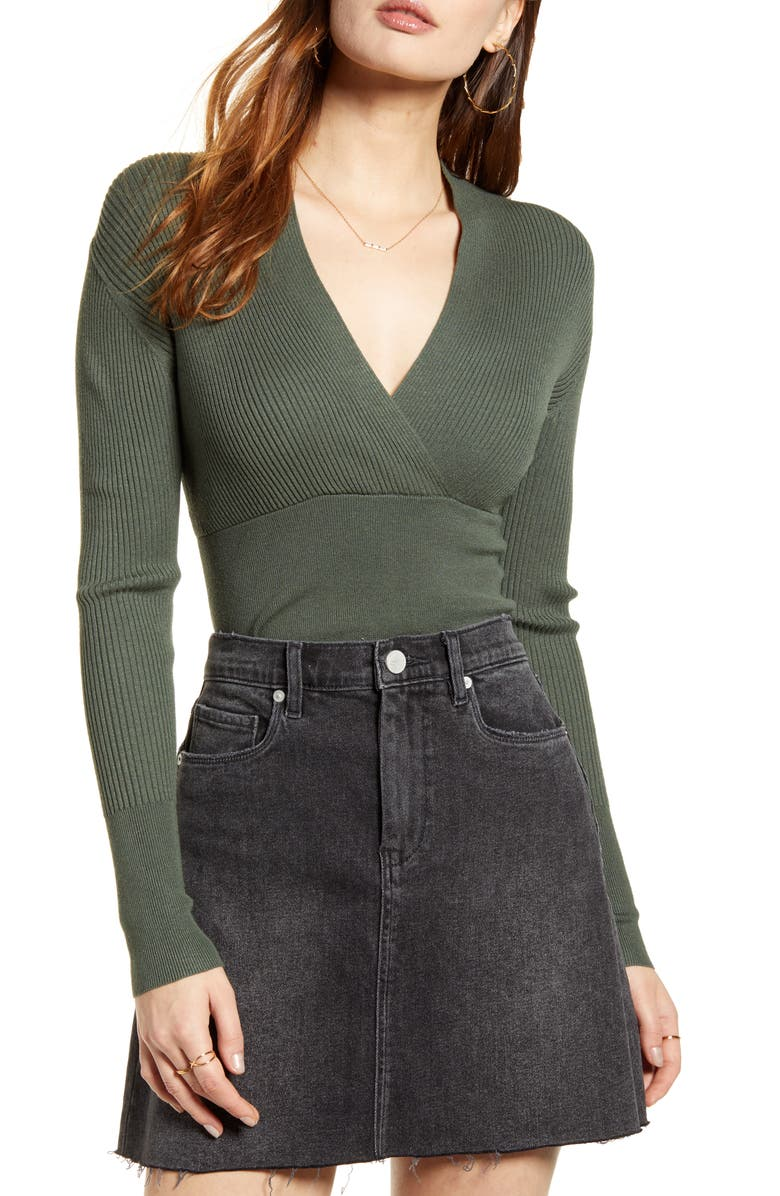 LEITH Rib Wrap Banded Top, Main, color, GREEN THYME