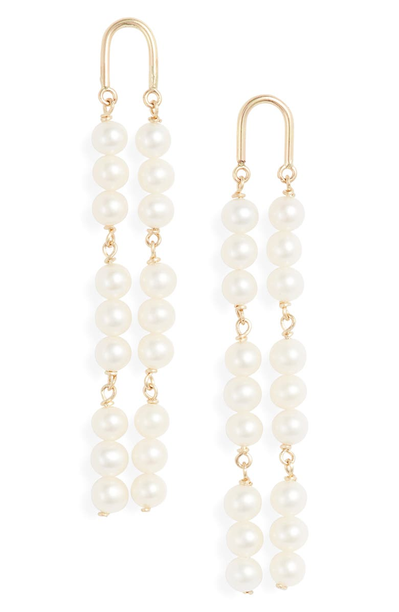 POPPY FINCH 14K Gold Arch Pearl Earrings, Main, color, YELLOW GOLD/ PEARL