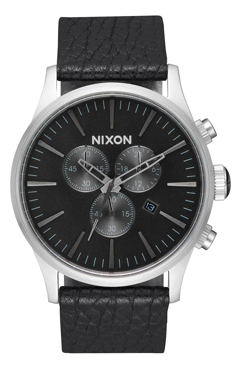 NIXON The Sentry Chronograph Alligator Strap Watch, 42mm, Main, color, 005