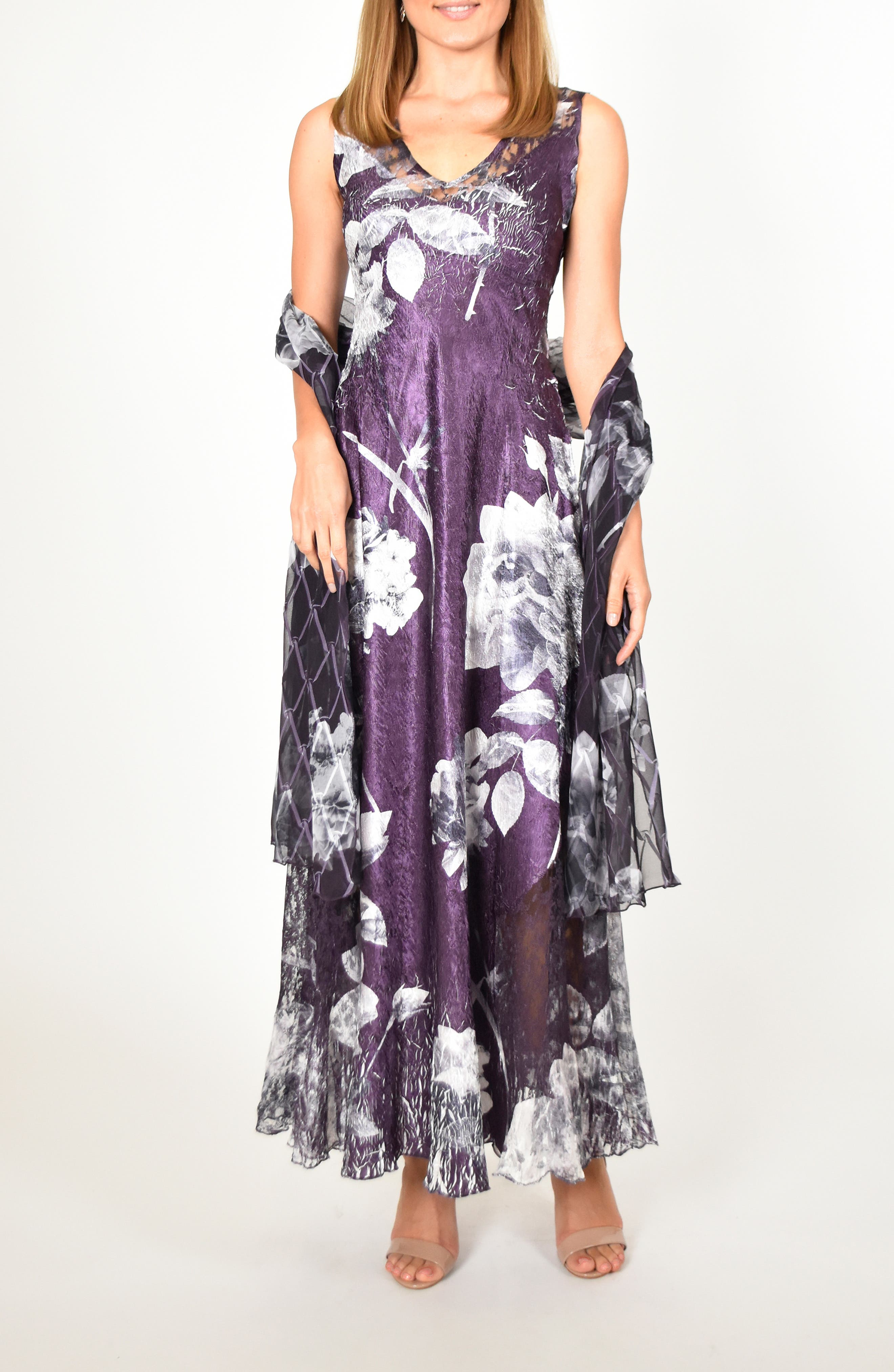 Komarov Lace-Up Floral Maxi Dress With Shawl, Black