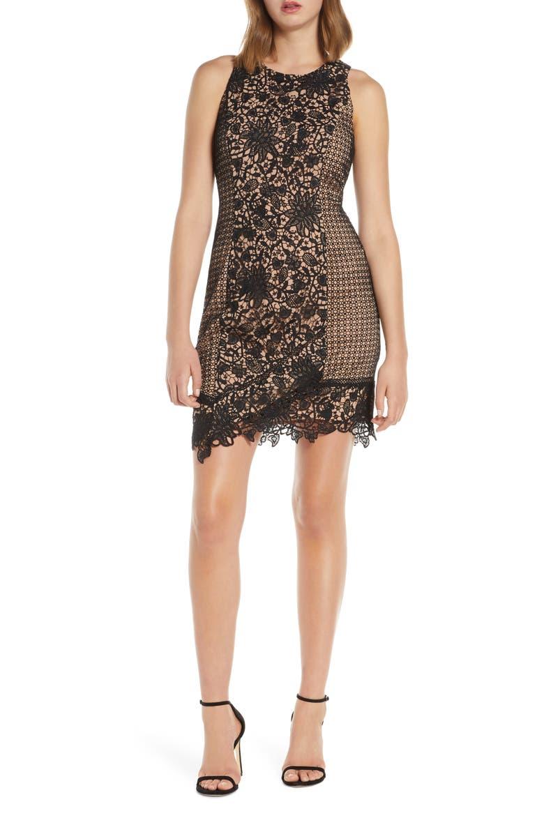 ADELYN RAE Alessia Lace Cocktail Sheath Dress, Main, color, BLACK-NUDE