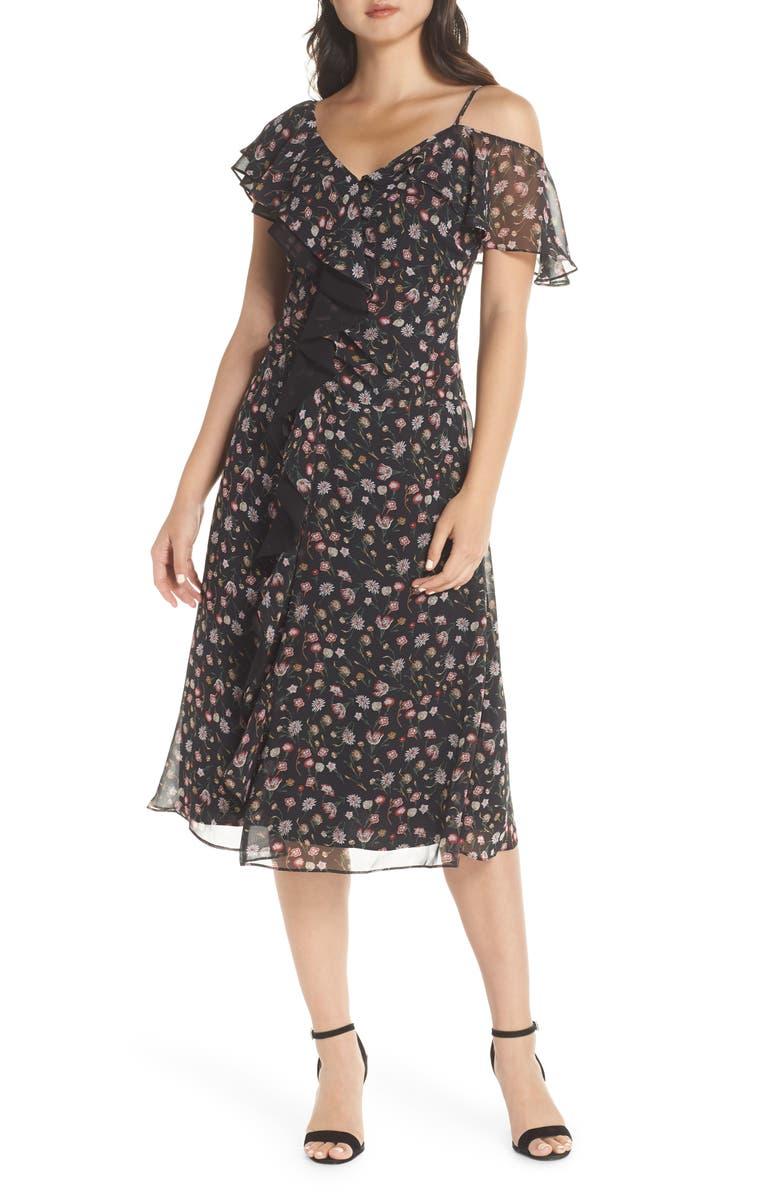 SAM EDELMAN Ruffle Front Midi Dress, Main, color, BLACK MULTI