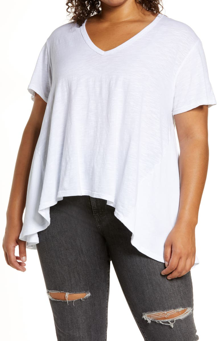 TREASURE & BOND Treasue & Bond Mixed Media Swing T-Shirt, Main, color, WHITE