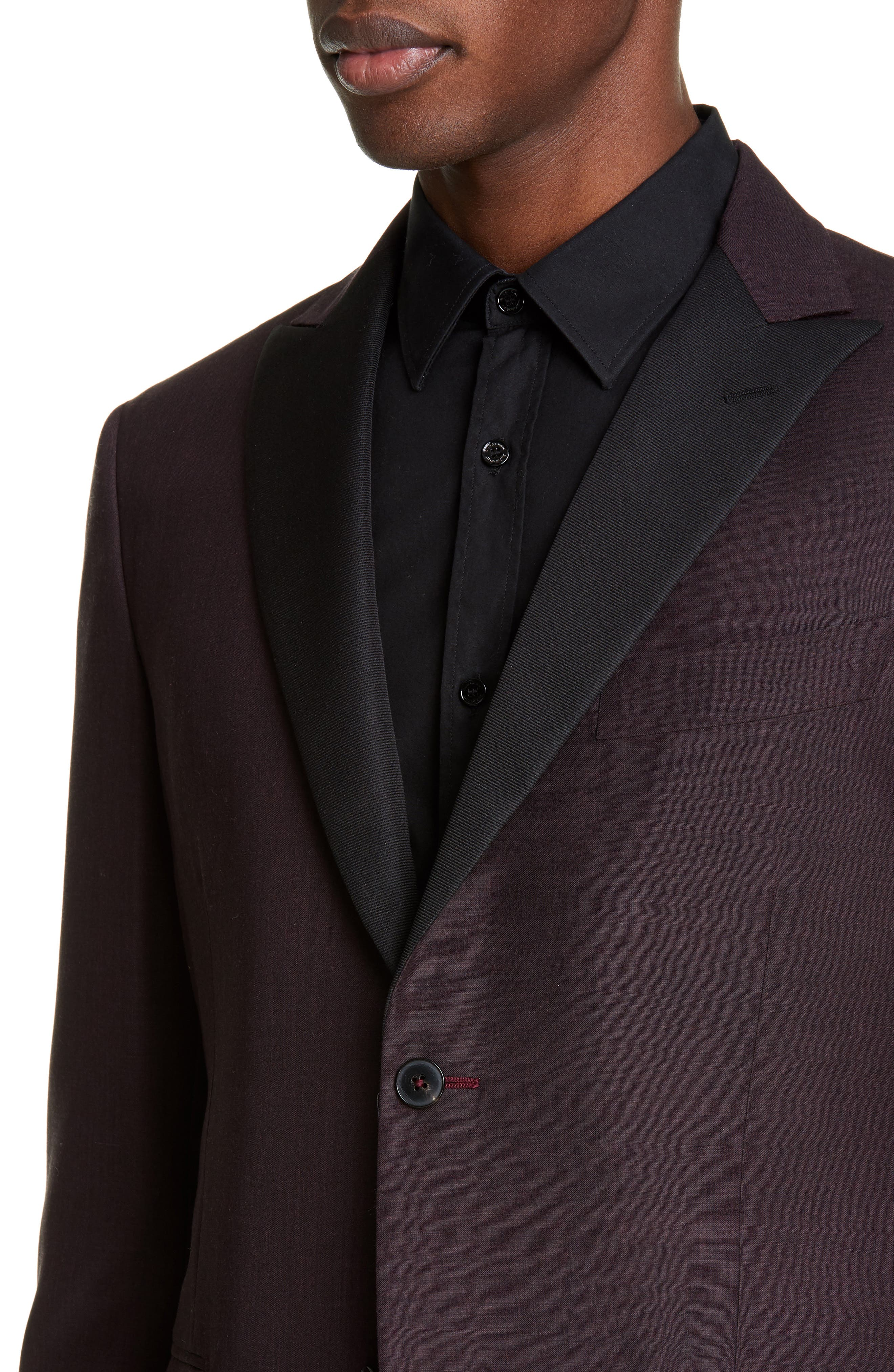 ,                             Balthazar Trim Fit Wool & Mohair Dinner Jacket,                             Alternate thumbnail 4, color,                             BURGUNDY