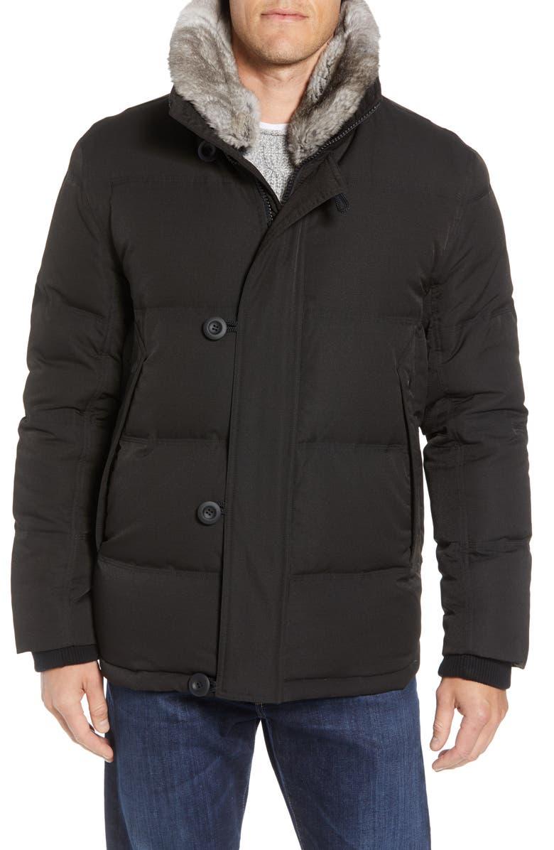 ANDREW MARC Bryant Genuine Rabbit Fur Trim Down Jacket, Main, color, 001