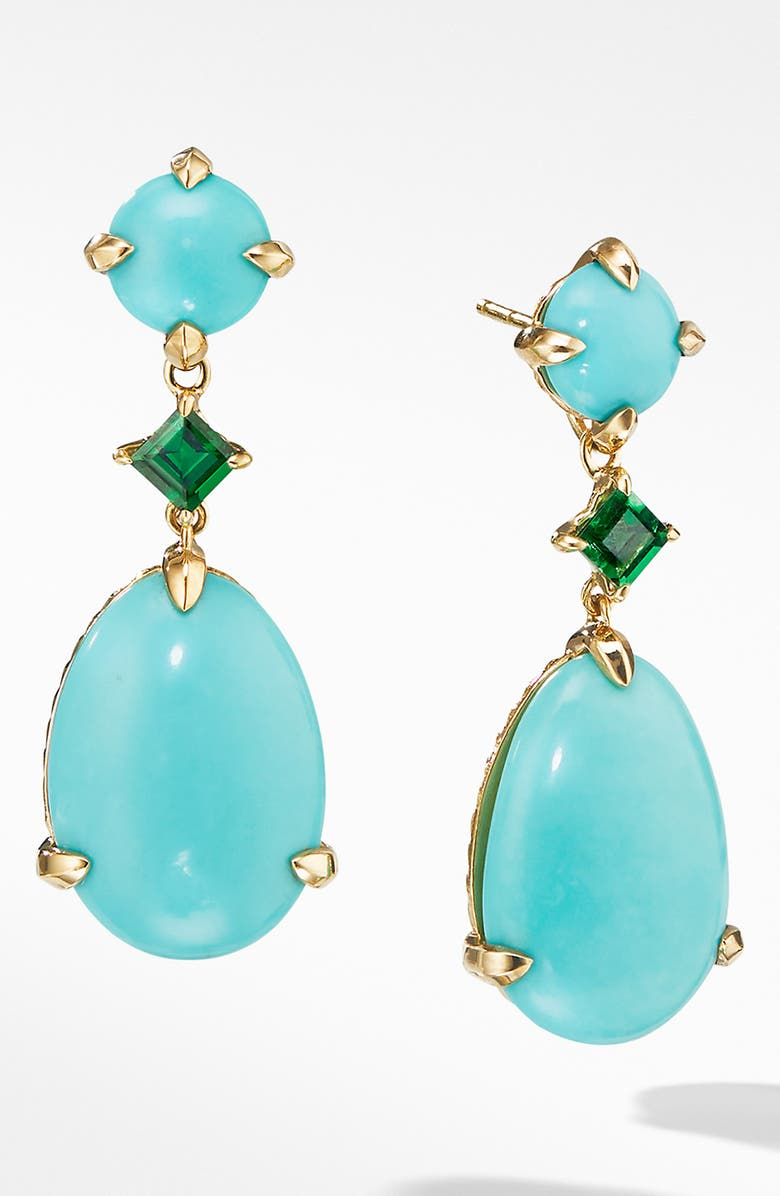 DAVID YURMAN Chatelaine<sup>®</sup> Drop Earrings in 18k Yellow Gold, Main, color, TURQUOISE MEXICAN