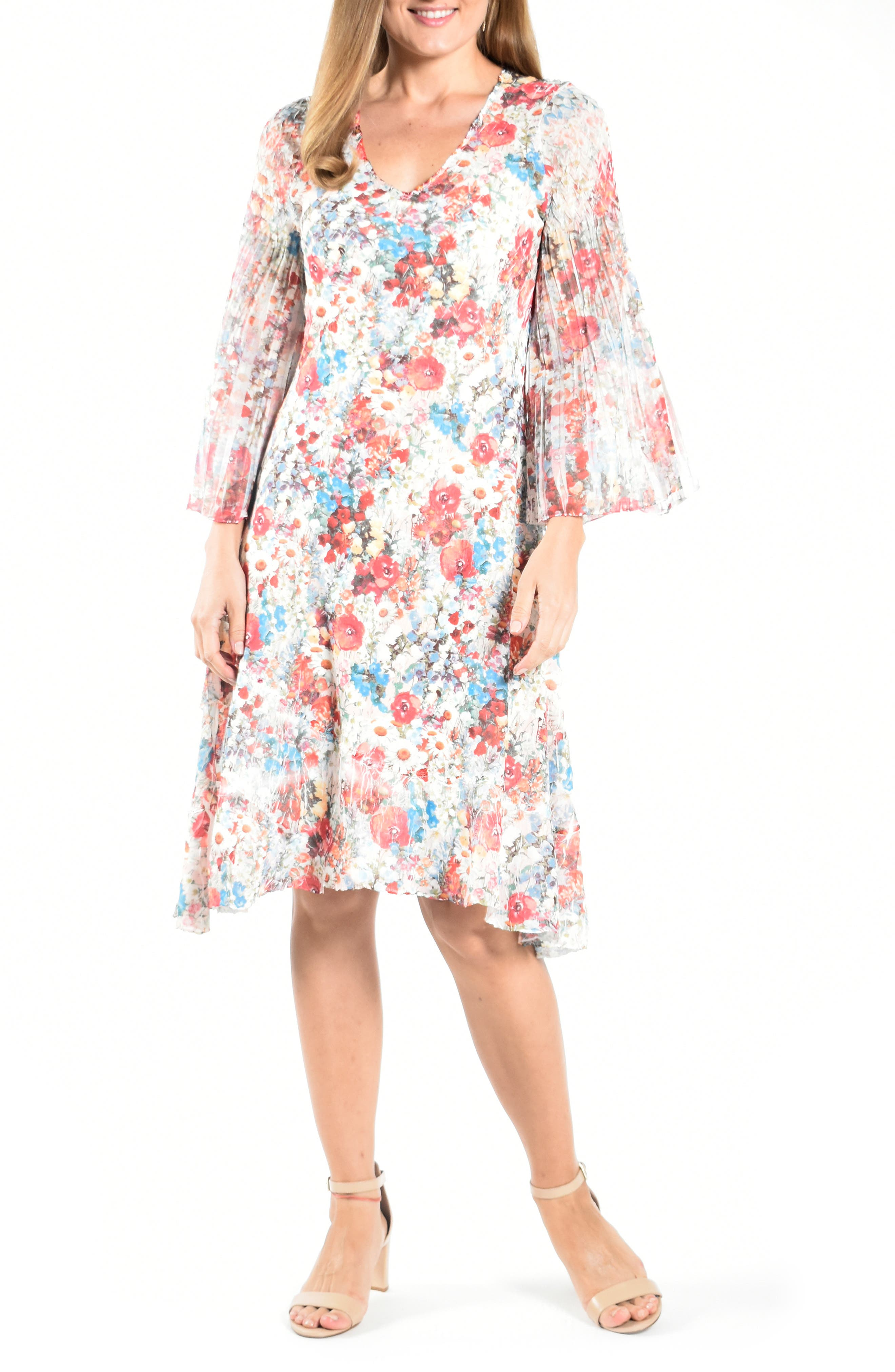 Long Flare Sleeve Cocktail Dress