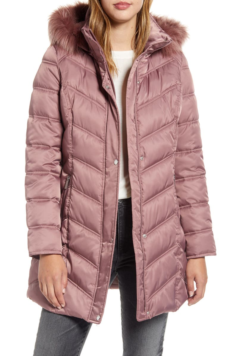 KENNETH COLE NEW YORK Faux Fur Trim Puffer Jacket, Main, color, DUSTY ROSE